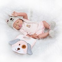 """Full Realistic Silicone Baby Dolls Reborn Baby Doll One-piece With Clothes Lovely Cute 20"""" Girl in Floral Lace Pink"""