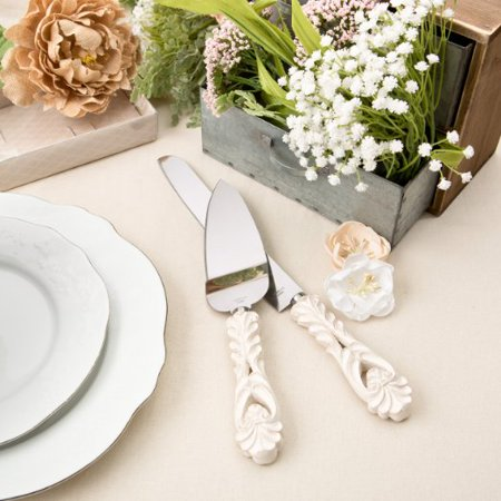 Fashioncraft Baroque Design Antique Ivory Cake Server And Cake Knife Set, Ivory](Cake Knife Set)