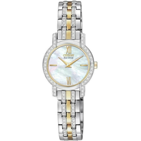 EX1244-51D Women's Silhouette Crystal Eco-Drive Two Tone Steel Bracelet Watch (Citizen Crystal)