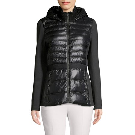 Hooded Quilt & Knit Combo Down Coat (Peak Performance Rocker Jacket)