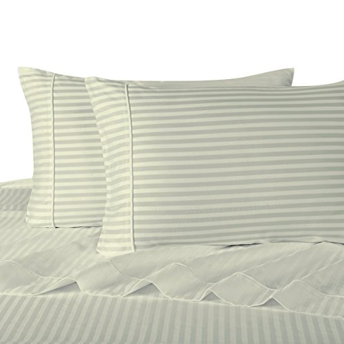 Sheetsnthings 100% Cotton, Bed Sheet Set - 600TC, Twin Extra Long (TXL) Ivory Stripes - Soft, Deep Pocket, 3PC Sheets