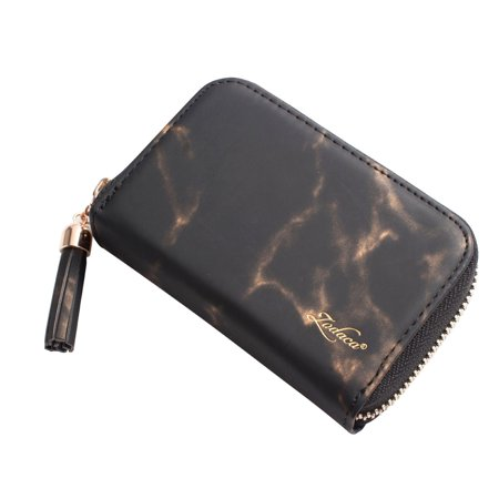 separation shoes 7cfba 8a9f7 Card Holder Wallet by Zodaca Women Portable 10 Business ID Credit Card  Holder Room Pocket Zip Purse Wallet - Black Marble