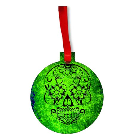 Green Grunge Sugar Skull Day of the Dead Round Shaped Flat Hardboard Christmas Ornament Tree Decoration - Unique Modern Novelty Tree Décor Favors