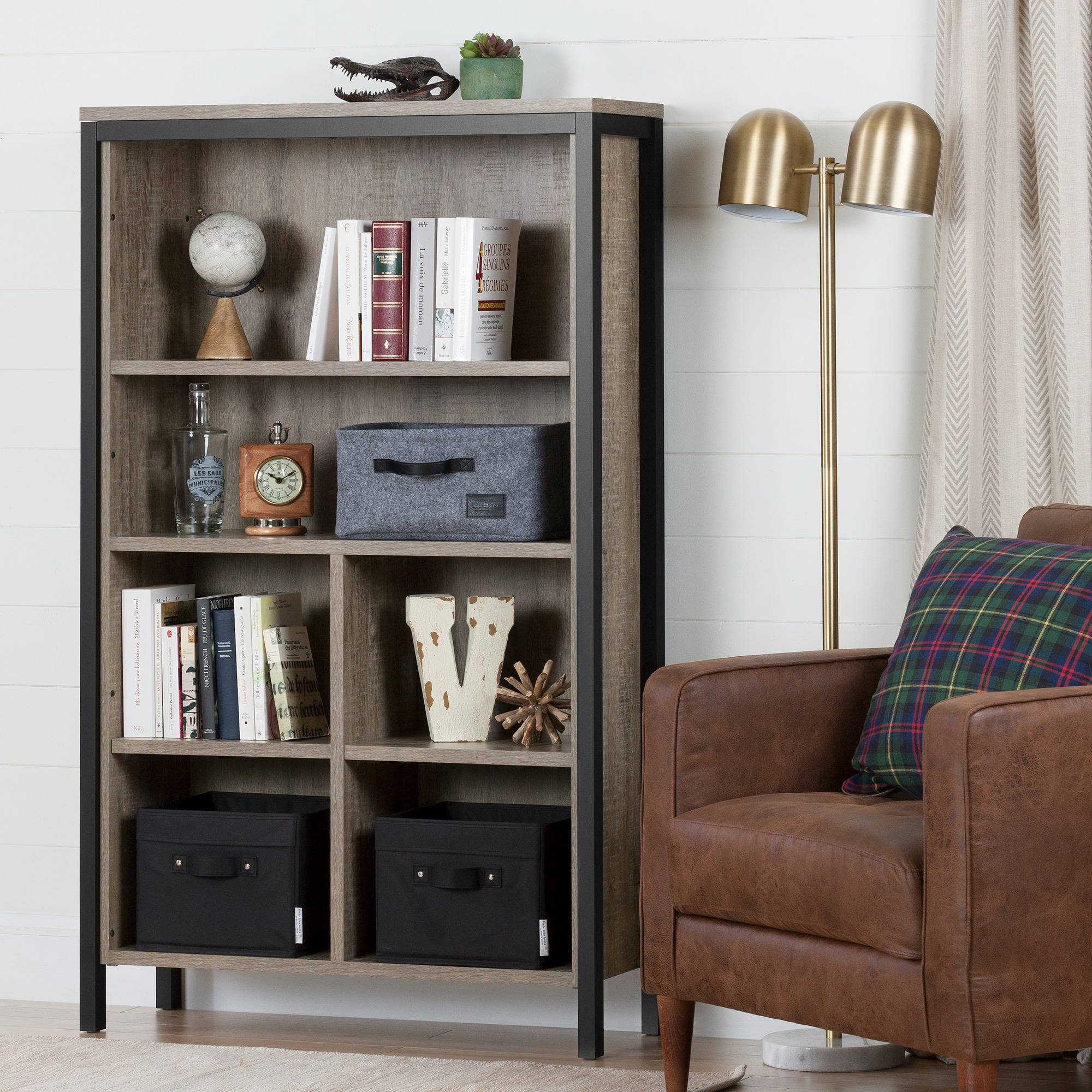 "South Shore Munich 6-Shelf 58 1/2"" Bookcase with Cubes, Weathered Oak and Matte Black"