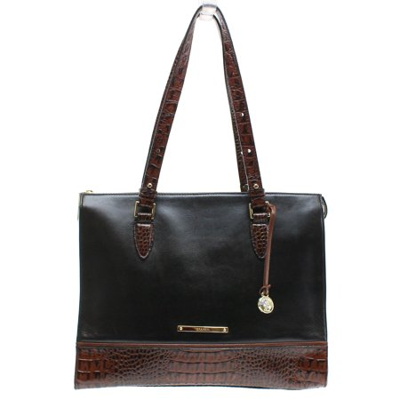 Brahmin New Black Brown Colorblock Tuscan Anywhere Tote Bag Leather
