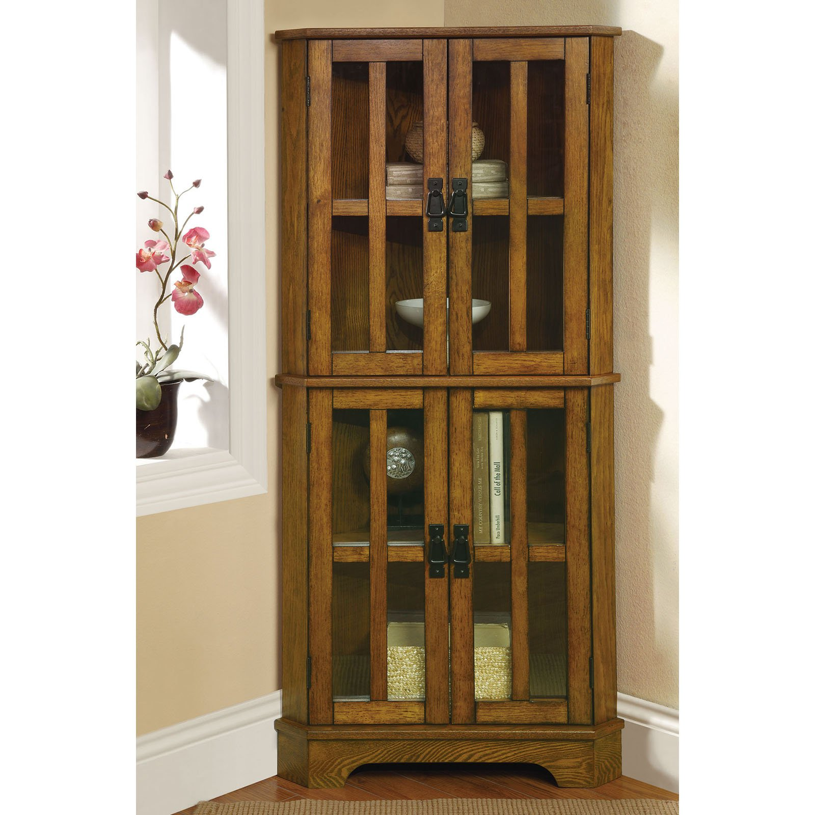 Coaster Company Curio Cabinet with Window Panel Styled Doors, Golden Brown by Coaster Company