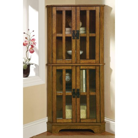 Coaster Company Curio Cabinet with Window Panel Styled Doors, Golden Brown