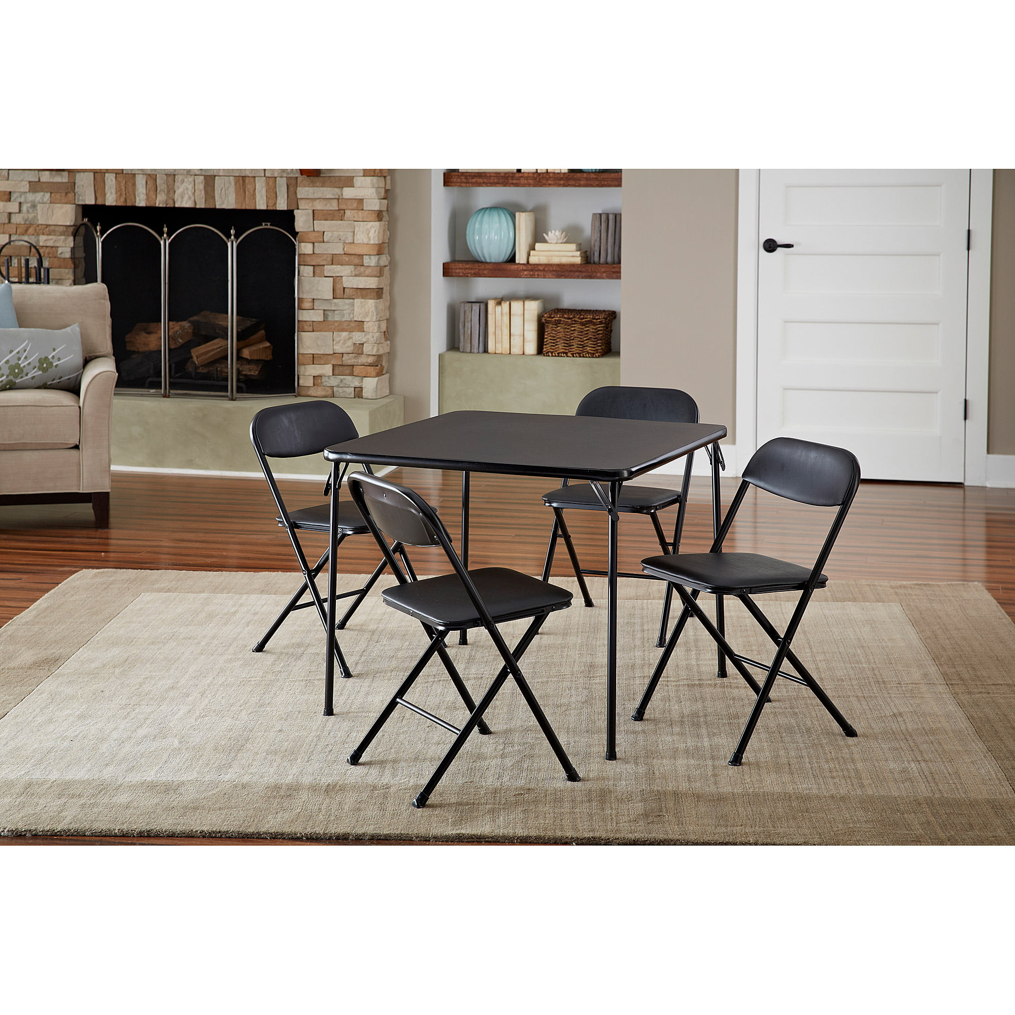 cosco 5 piece card table set black walmartcom - Table And Chair Sets Kitchen