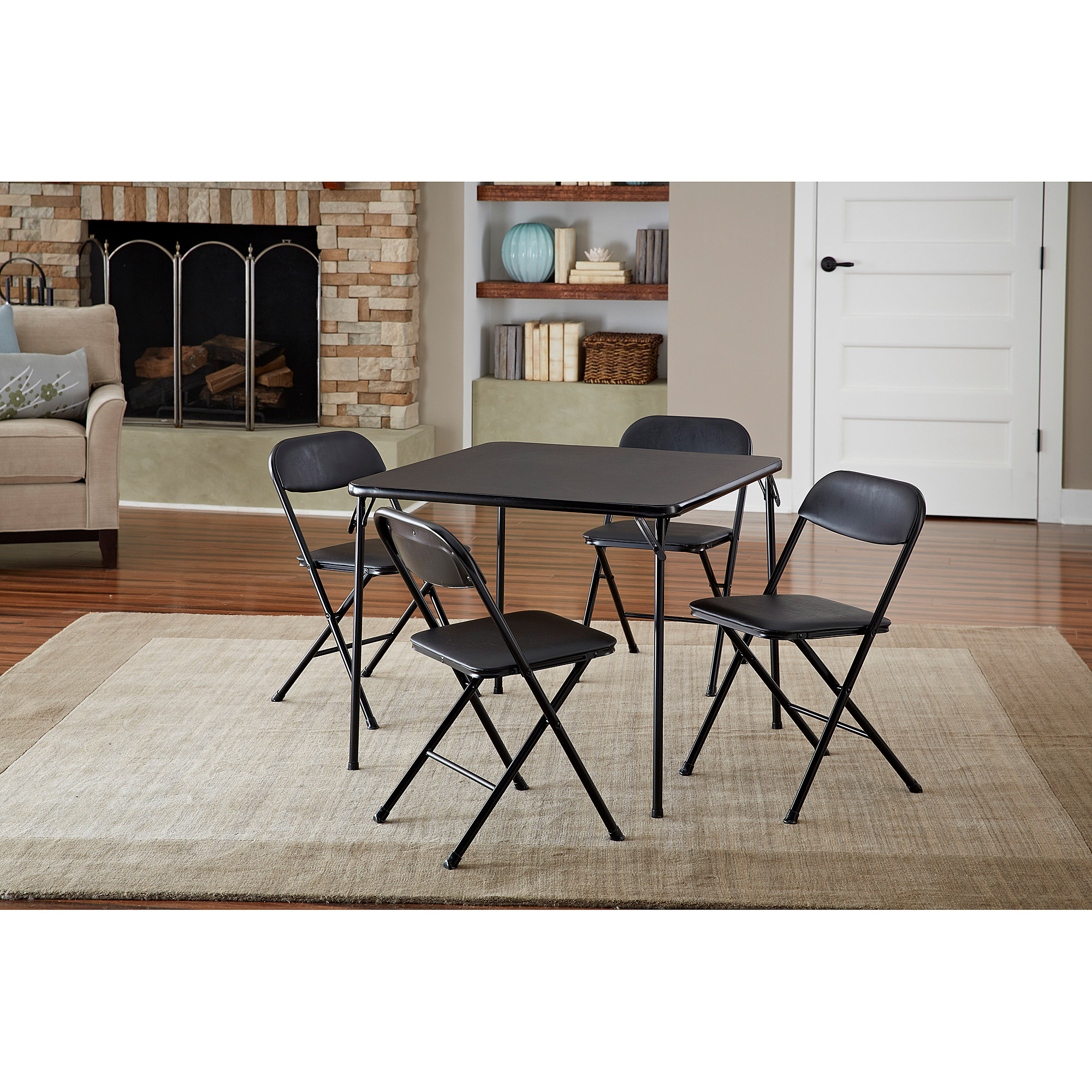 Cosco Piece Card Table Set Black Walmartcom - Black dining room table and chair sets