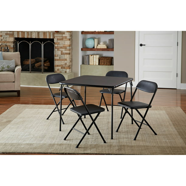 Cosco 5-Piece Card Table Set, Black
