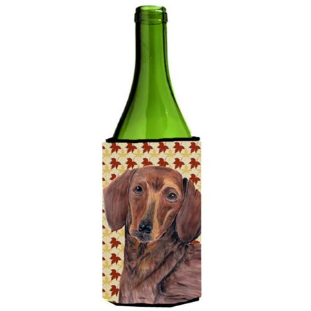 Dachshund Fall Leaves Portrait Wine Bottle   Hugger - 24 oz. - image 1 de 1
