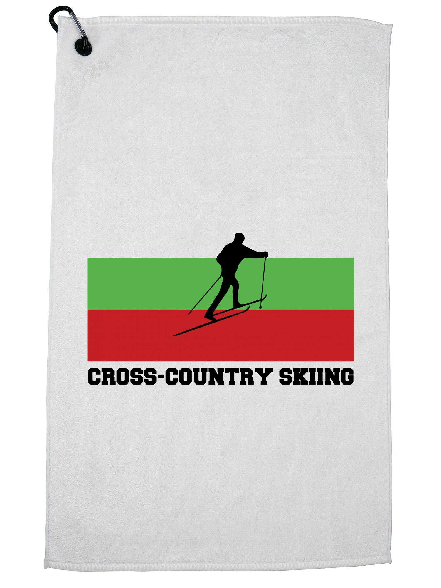 Bulgaria Olympic Cross-Country Skiing Flag Silhouette Golf Towel with Carabiner Clip by Hollywood Thread