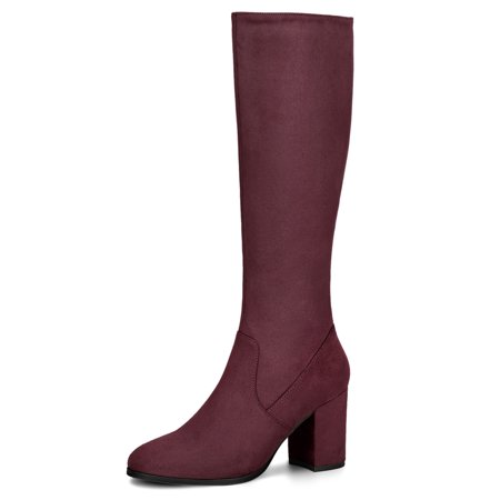 Women's Chunky Heel Knee High Boots Burgundy (Size 7) - Red Thigh High Boots For Halloween