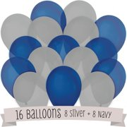 16 Pack of Latex Balloons (8 Navy Blue & 8 Gray)