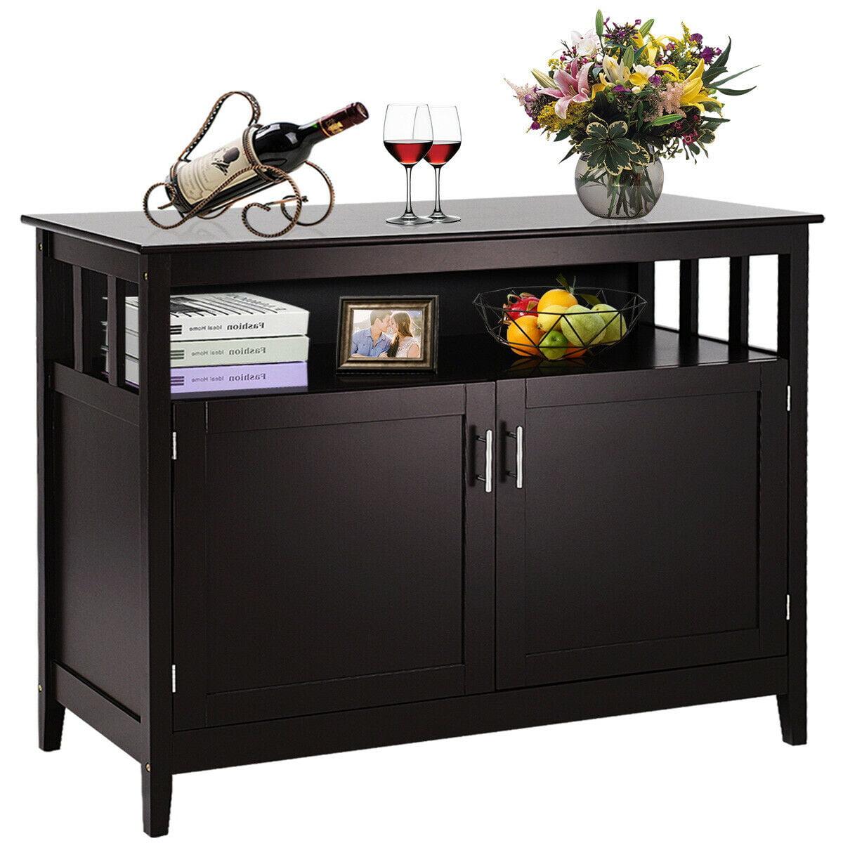 Picture of: Costway Modern Kitchen Storage Cabinet Buffet Server Table Sideboard Dining Wood Brown Walmart Com Walmart Com