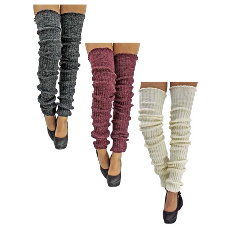 White Burgundy Gray 3-Pack Slouchy Thigh High Knit Dance Leg - White Leg Warmers