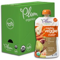 Plum Organics Mighty Veggie, Organic Toddler Food, Carrot, Pear, Pomegranate & Oats, 4oz Pouch (Pack of 6)