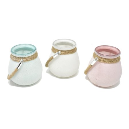 Colored Jars - Assorted Sandy Colored Glass Jars, 4-1/4-Inch, 3-Piece