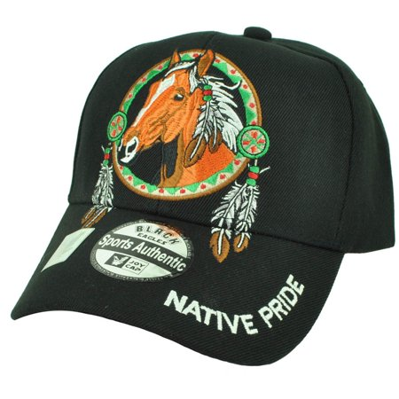 Handmade Native American Indian Horse - Native Indian American Pride Horse Freedom Adjustable Black Hat Cap Feathers
