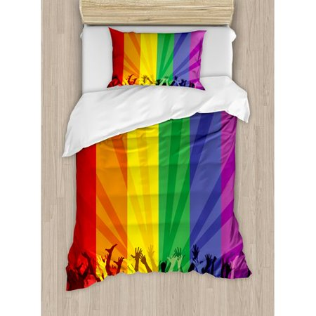 Ambesonne Pride Decorations People Celebrating International Day for LGBT Community Colorful Striped Duvet Cover Set
