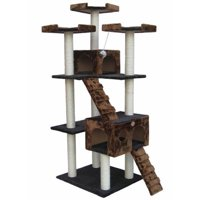 Go Pet Club 72-in Cat Tree & Condo Scratching Post Tower, Black & Brown