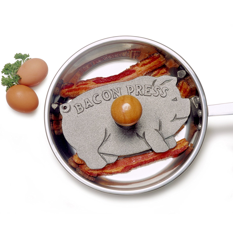 NORPRO Cast Iron 8-34 Diameter Round Bacon Press Grill Hardwood Handle
