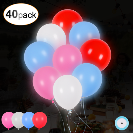 Balloons With Lights (AGPTEK 40PCS Led Balloons Wedding Light Up Balloons with Ribbon for Party Birthday)