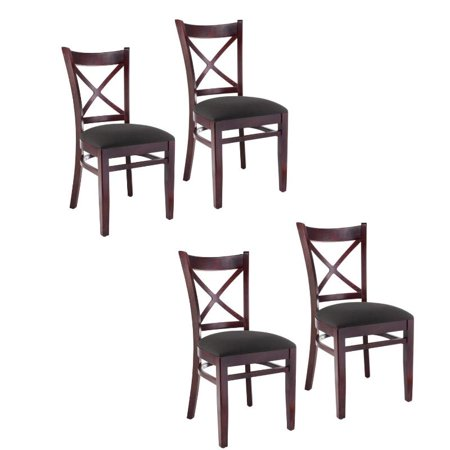 Cross Back Side Dining Chair In Dark Mahogany Set Of 4