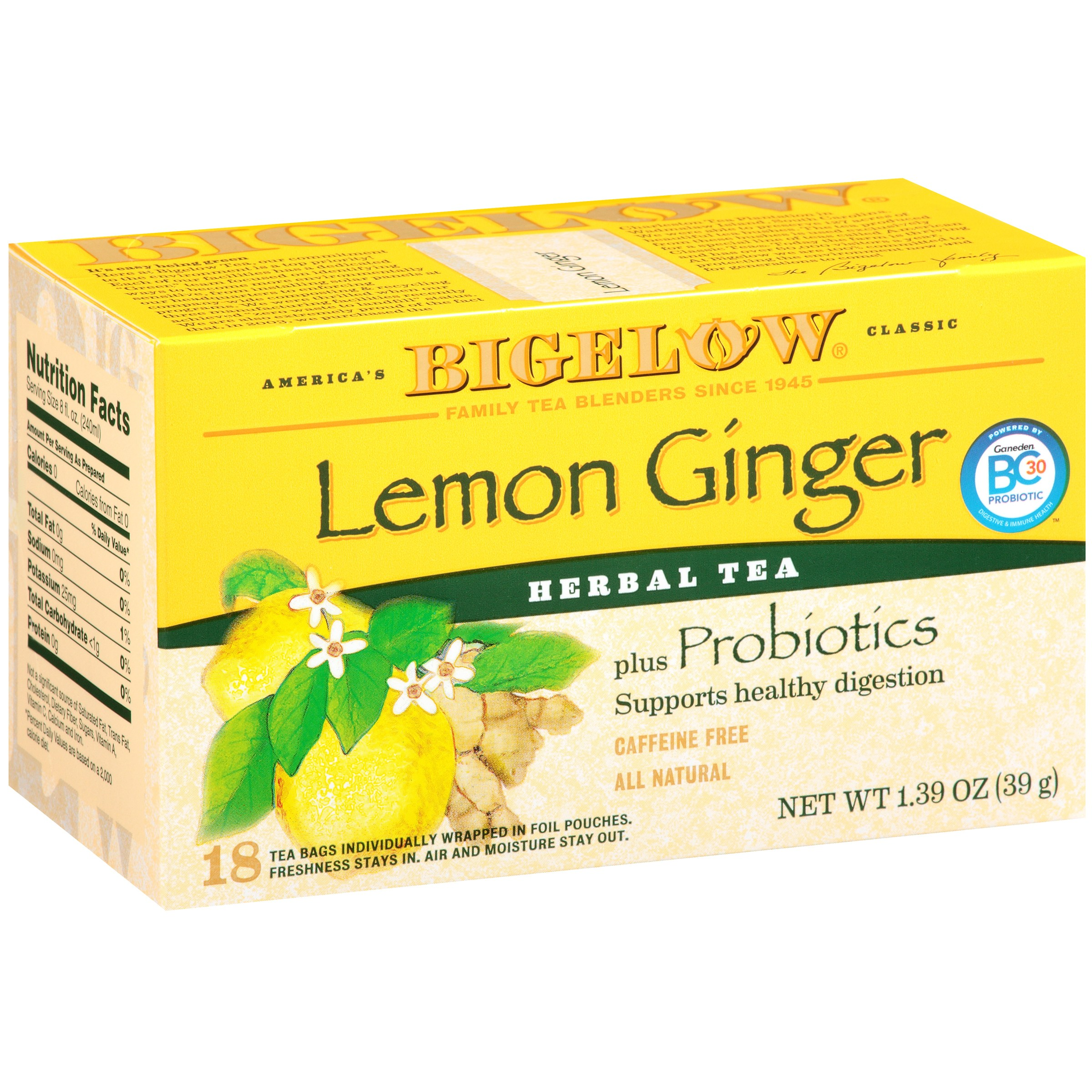 Bigelow Herbal Tea Bags Plus Probiotics Lemon Ginger 18 CT by RC Bigelow, Inc.