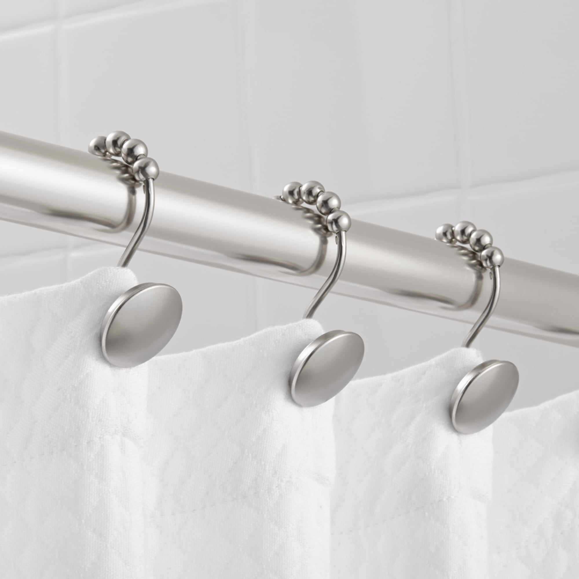 Hotel Style Peyton Shower Hooks With Easy Glide Brushed Nickel Walmart Com Walmart Com