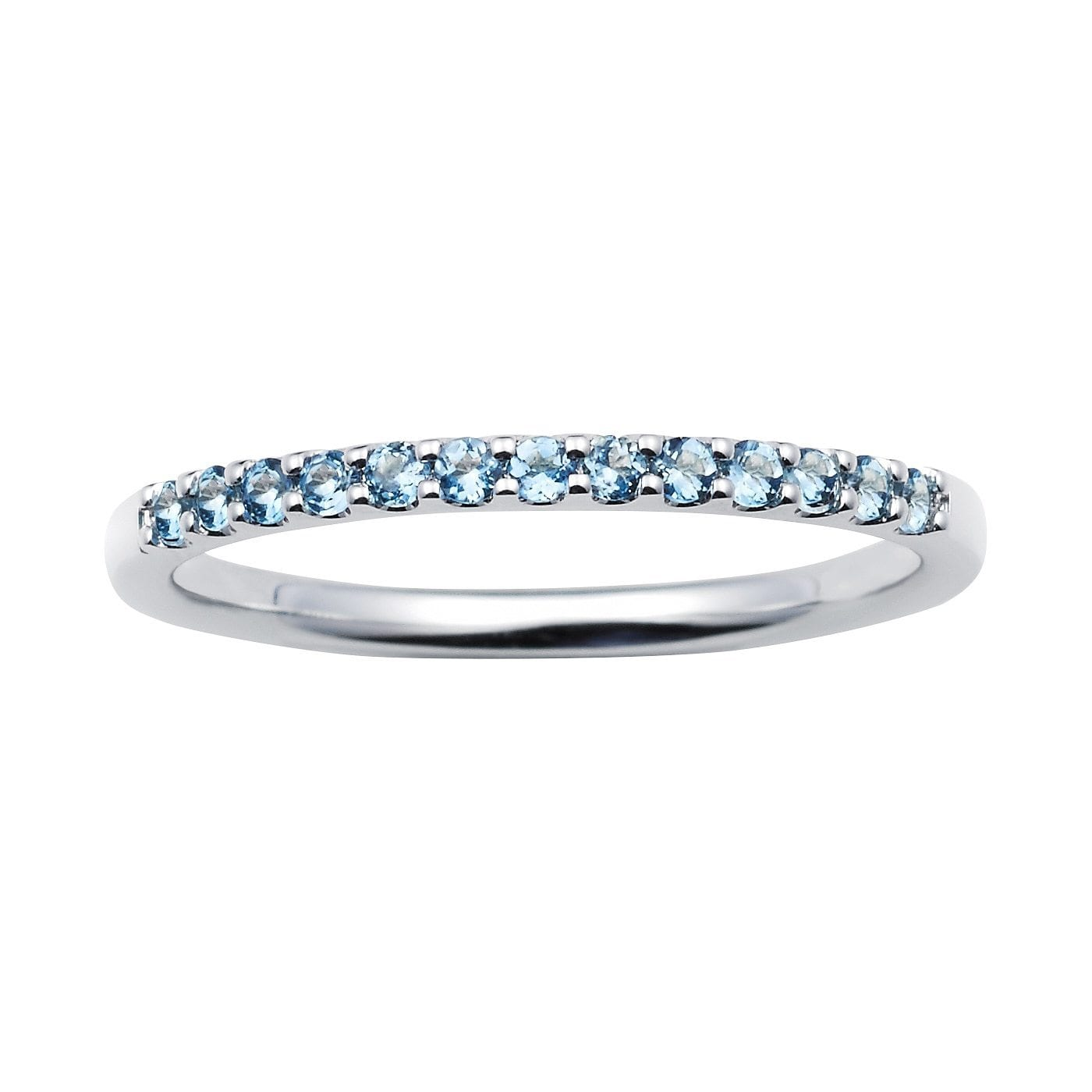 Boston Bay Diamonds 14k White Gold 1.04 Tgw. Aquamarine March Birthstone Stackable Band Ring by Overstock