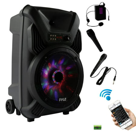Pyle PPHP126WMU - Portable PA Speaker & Microphone System, Bluetooth Wireless Streaming, Built-in Rechargeable Battery, Dancing LED Party Lights (Includes Wired & Headset Mics)