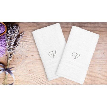 Linum Home Textiles Denzi Hand Towels With Single Letter Script Monogram - Set of 2