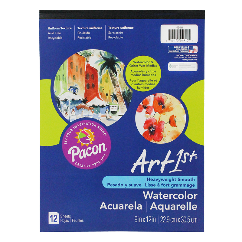 Pacon Corporation Artist Watercolor Paper Pad, 9 x 12, White, 12 Sheets per Pad                                                                 (Set of 2)