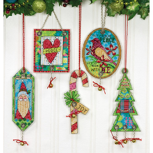 "Dimensions Jingle Bell Ornaments Counted Cross Stitch Kit, 8,.25"" x 11"", 14-Count, Set of 5"