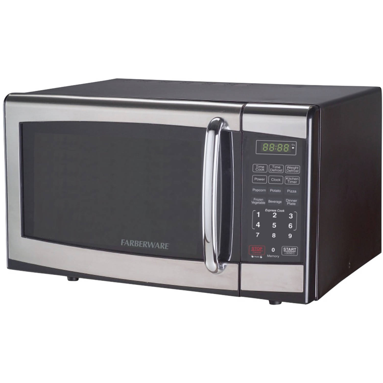 Farberware 0.9 cu ft Microwave Oven, Stainless Steel Black by Edge