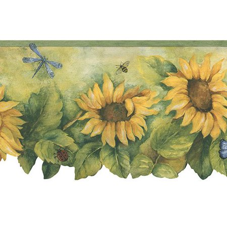 Norwall Wallcoverings Inc Fresh Kitchens V 15' x 20.5'' Die-Cut Sunflower Border (Die Cut Wall Border)