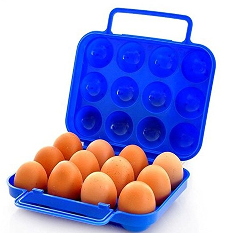 Outdoor Picnic Garden Portable Folding Plastic Carton Storage Tray Box Reusable Container 12 Egg Slots