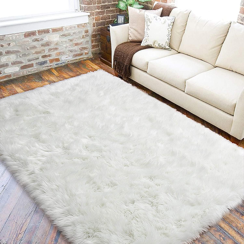 Fluffy Rugs Faux Fur Sheepskin Area Rug, White Living Room Rug