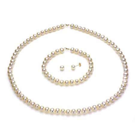 14k Yellow Gold 6-7mm White Freshwater Pearl Necklace Bracelet and Earring Set