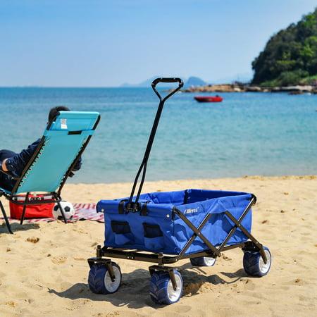 cf558e15c01e Allieroo Outdoor Utility Wagon Folding Collapsible Garden Beach Snow  Shopping Cart With 7''x4'' Thick Rubber Wheels 150 Pound Capacity Blue