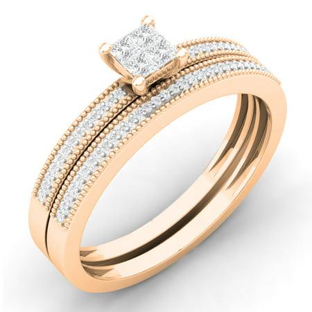 0.35 Carat (ctw) 14K Rose Gold Princess & Round Cut White Diamond Ladies Bridal Engagement Ring With Matching Band Set 1