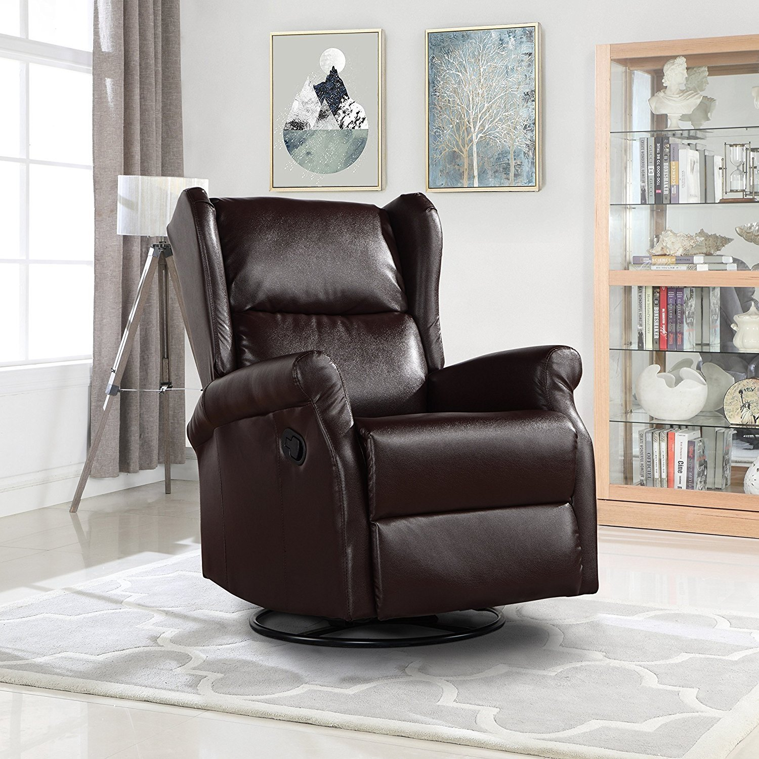 Reclining Swivel Accent Chair for Living Room, Faux ...