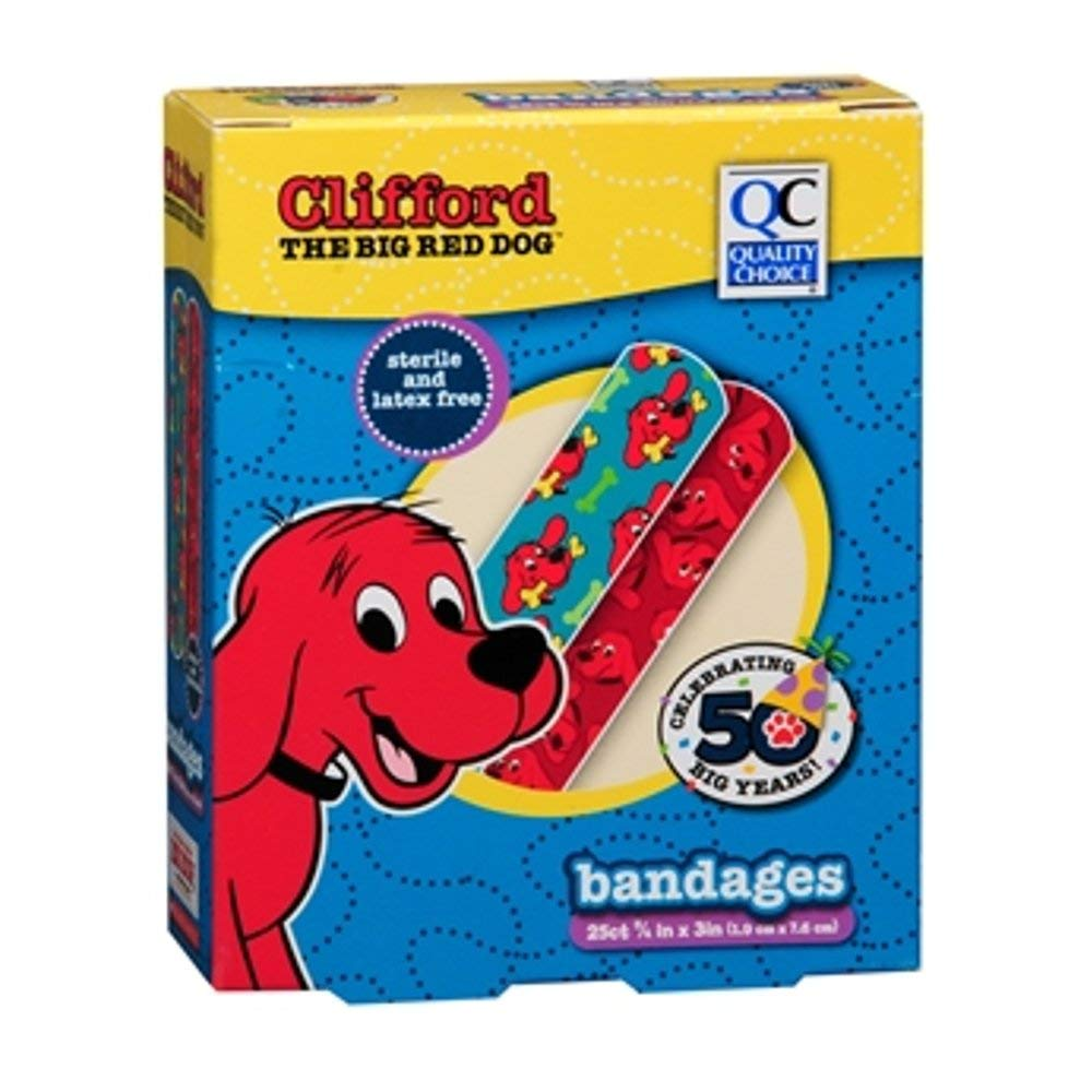 4 Pack Clifford The Big Red Dog Bandages, 25 Count each