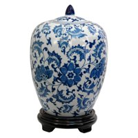 "11"" Floral Blue & White Porcelain Vase Jar"