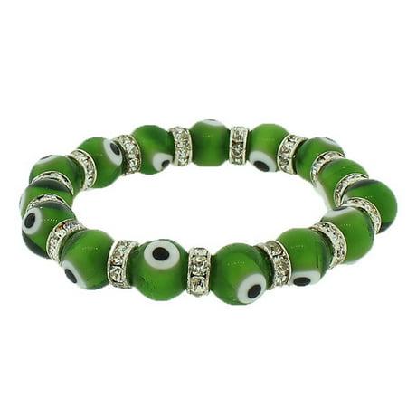 Fashion Alloy Green White CZ Beaded Stretch Cord Bangle Evil Eye Bracelet