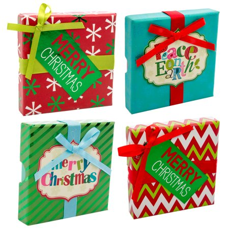 North Pole Treasures (Set Of 4) Merry Christmas Gift Card Holder Unique Holiday Gift Boxes With (Merry Christmas Gift Box)