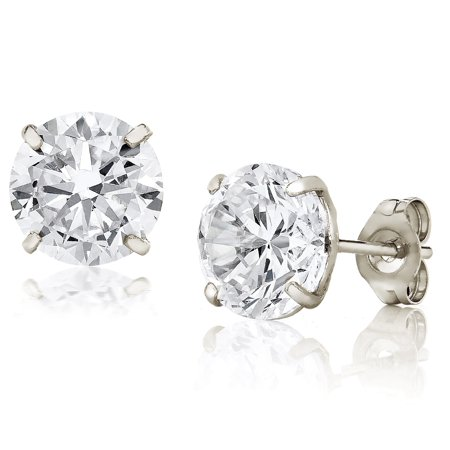 Jewelers 14K White Gold 7MM Round-Cut Stud Earrings made with Crystals Swarovski BOXED (Swarovski Gold Stud)