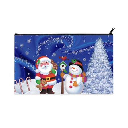- POPCreation Merry Christmas Santa Claus Snowman School Pencil Case Pencil Bag Zipper Organizer Bag