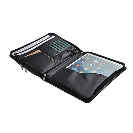 Executive Organizer Portfolio Leather Case with Pockets for 12.9 inch iPad Pro,Black